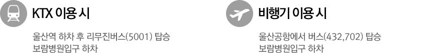 3. KTX 이용 시: 울산역 하차 후 리무진버스(5001) 탑승 보람병원입구 하차  4. 비행기 이용 시: 울산공항에서 버스(432,702) 탑승 보람병원입구 하차