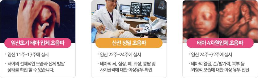 임신초기 태아 입체 초음파:-임신 11주~13주에 실시-태아의 전체적인 모습과 신체 발달 상태를 확인 할 수 있습니다. 산전 정밀 초음파:-임신 23주~25주에 실시-태아의 뇌, 심장, 폐, 위장, 콩팥 및 사지골격에 대한 이상유무 확인 태아 4차원입체 초음파:-임신 24주~32주에 실시-태아의 얼굴, 손/발가락, 복부 등 외형적 모습에 대한 이상 유무 진단
